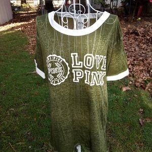 VS PINK Sheer Army Green T-shirt M